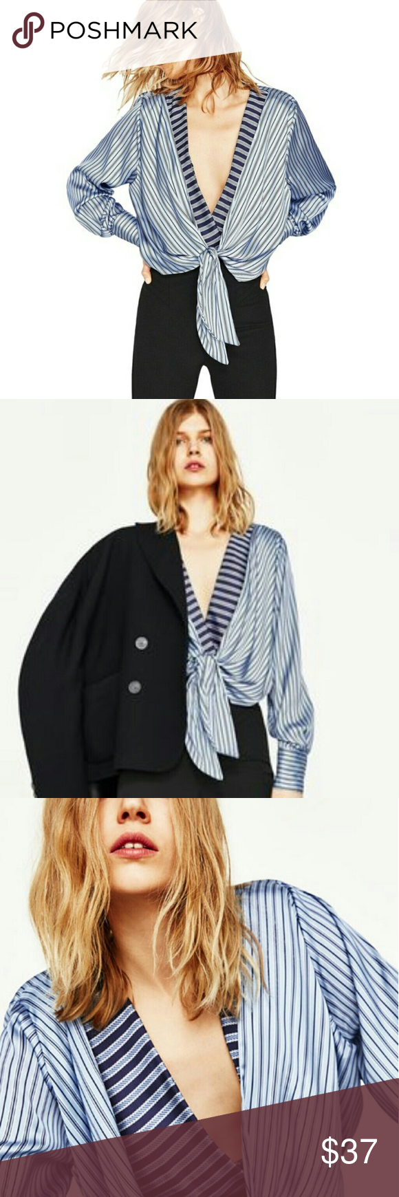 5d81eadb2c6c ZARA Wrap Striped Bodysuit size M This sold out from SS 17. Also sold