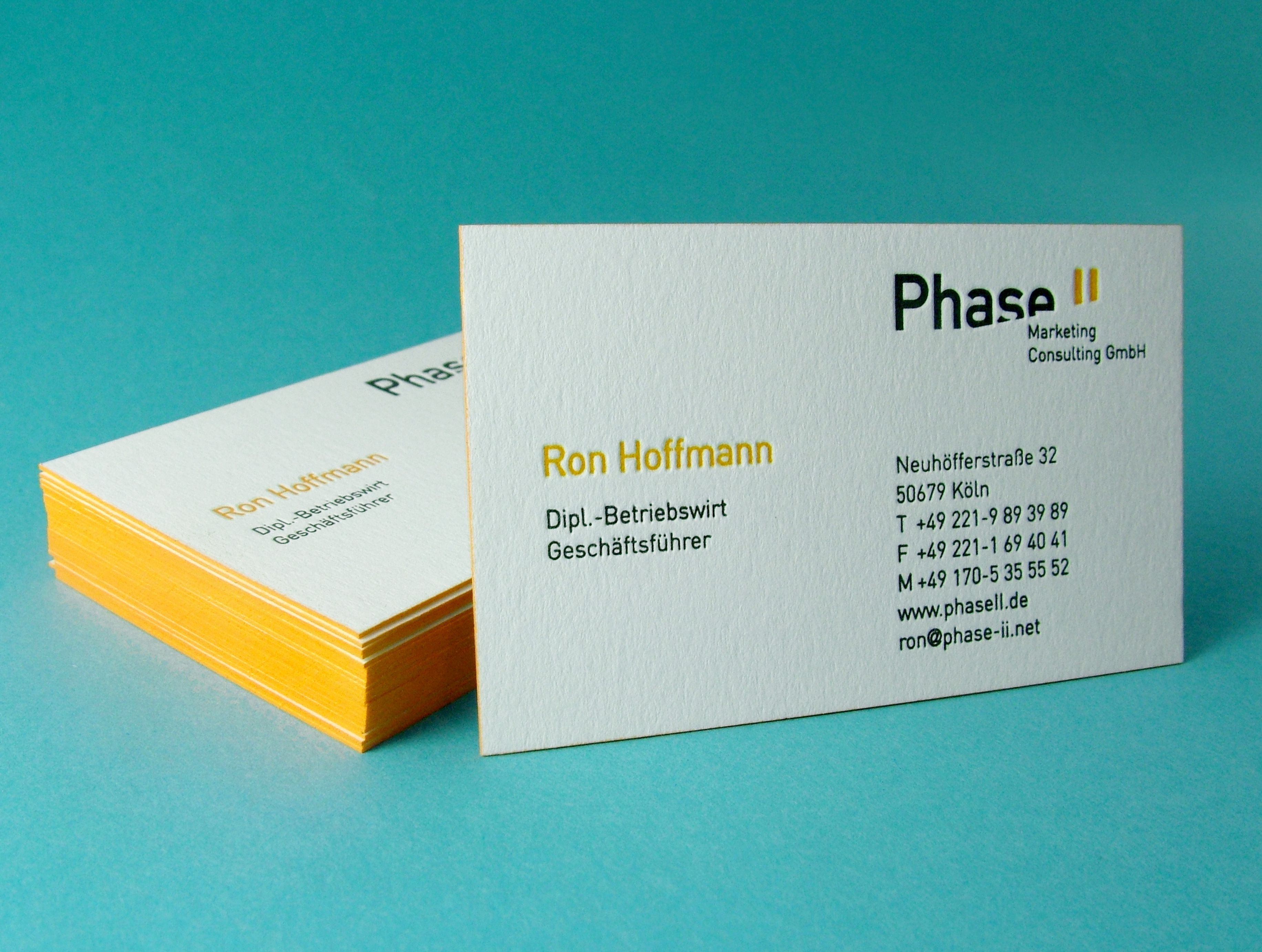 2 colour letterpress business cards printed on metapaper s