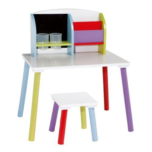 petit bureau multicolore et son tabouret oxybul 59 99. Black Bedroom Furniture Sets. Home Design Ideas