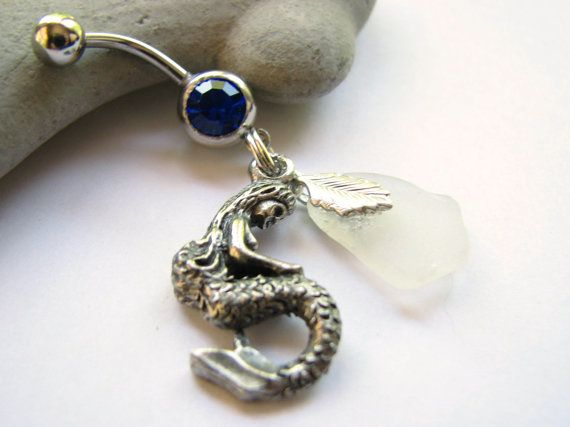 Sea Glass Mermaid Belly Button Jewelry Bellybutton Ring Beach