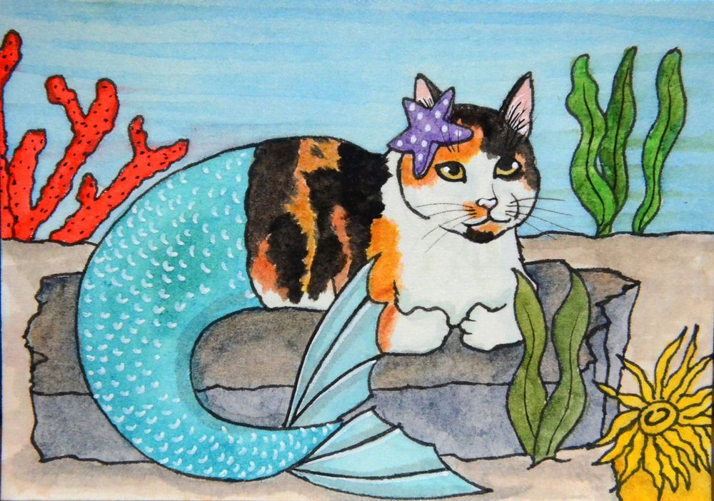 ACEO Original Folk Ink Watercolor Fantasy Calico Cat Mermaid Julie Cervantes #Miniature