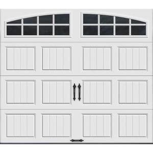 Clopay Gallery Collection 8 Ft X 7 Ft 6 5 R Value Insulated White Garage Door With Arch Window Gr1sp Sw Grla1 White Garage Doors Garage Doors Garage Door Styles