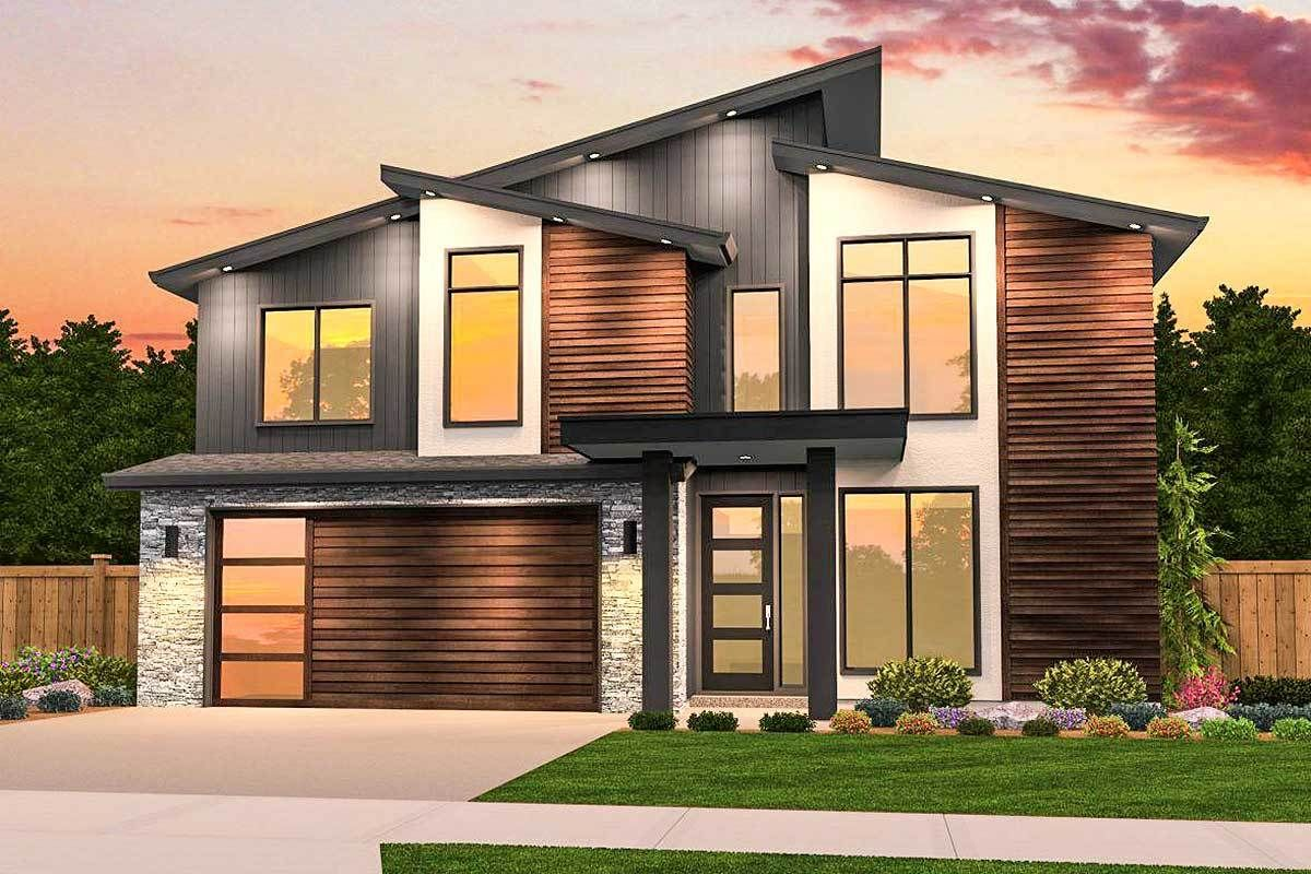 Plan 85208ms Angular Modern House Plan With 3 Upstairs Bedrooms Contemporary House Exterior Modern House Plans Contemporary House Plans