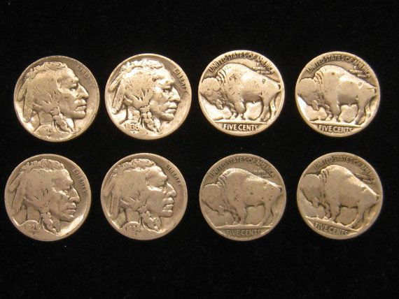 Set of 8 Buffalo Head Indian Head Nickel Button Covers