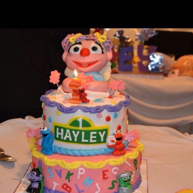 Sesame Street Birthday cake with Elmo Candle Sesame Street