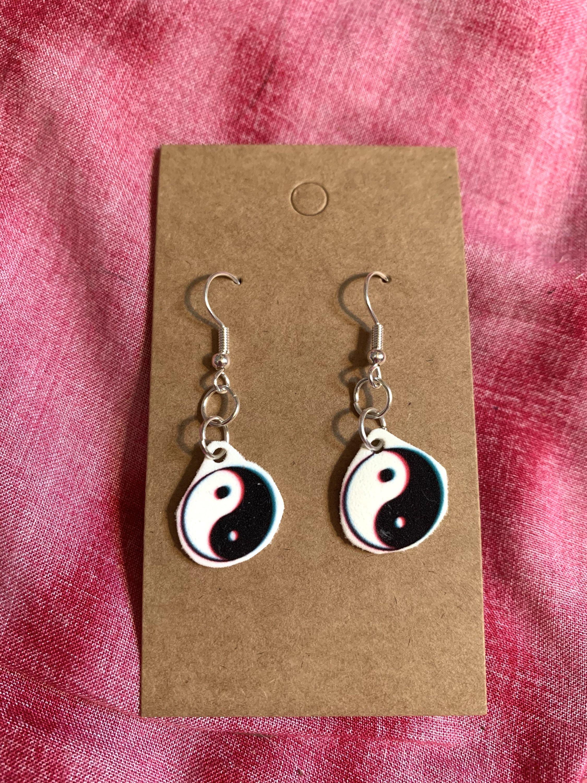 Big and Lightweight Earrings Hanging Earrings fun round colored earrings Dangle Statement Earrings Pink /& White Shrinky Dink Earrings