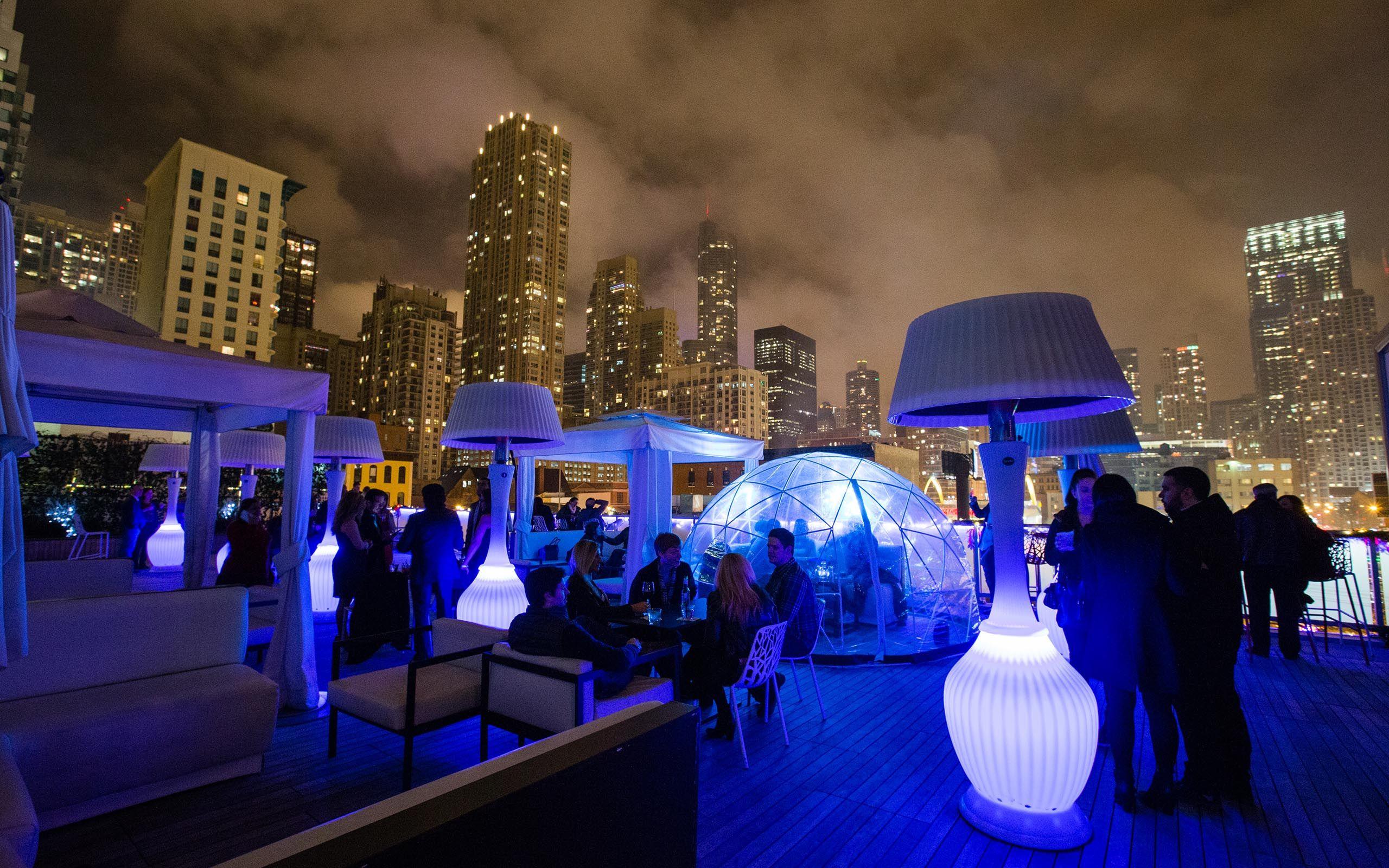 Rooftop Chicago Bar Lounge Io Urban Frey Hotel