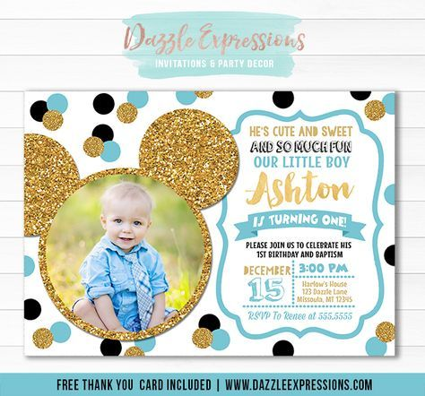 Printable Blue And Gold Mickey Mouse Inspired Birthday Invitation