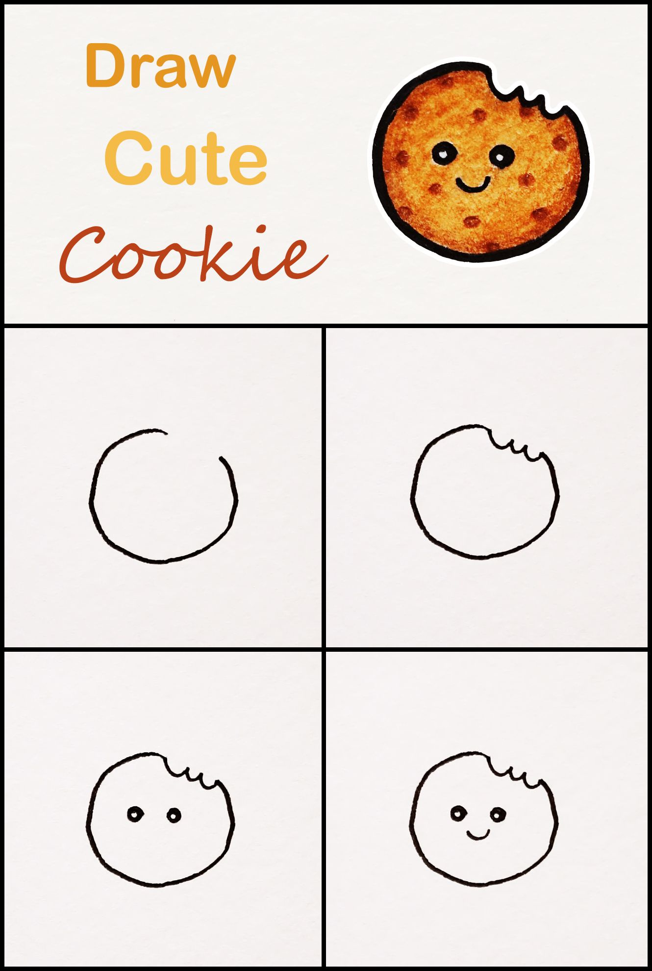 Learn How To Draw A Cute Cookie Step By Step Very Simple Tutorial Cookie Drawings Kawaii Tutori Cute Easy Drawings Art Drawings For Kids Drawing Tutorial