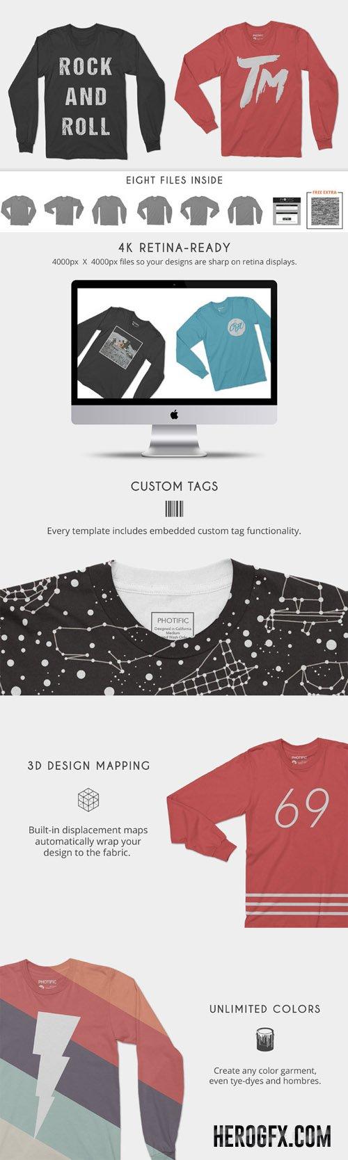 Long Sleeve T-Shirt Apparel Mockups | Graphic Design: Mockups ...