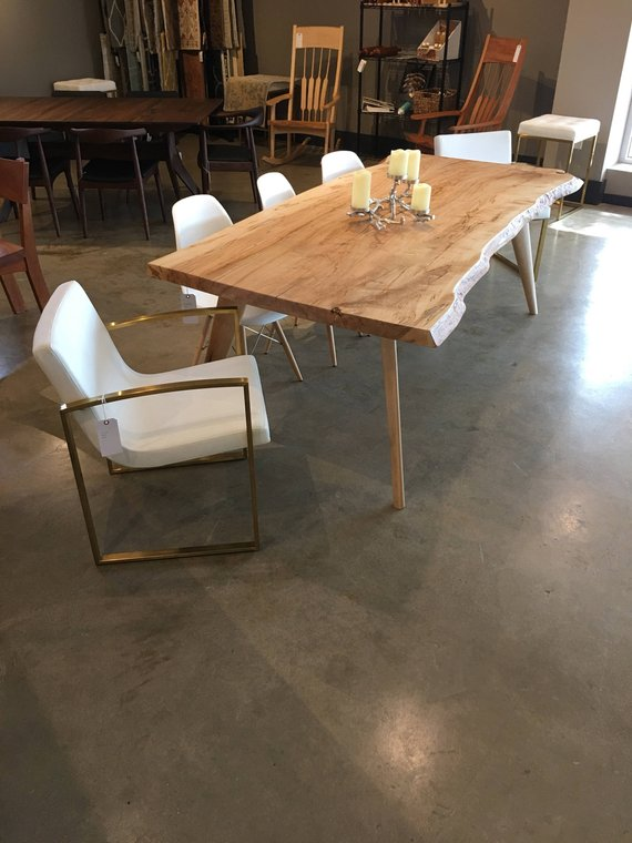 Live Edge Maple Dining Table Ambrosia With Great Color Mid Century