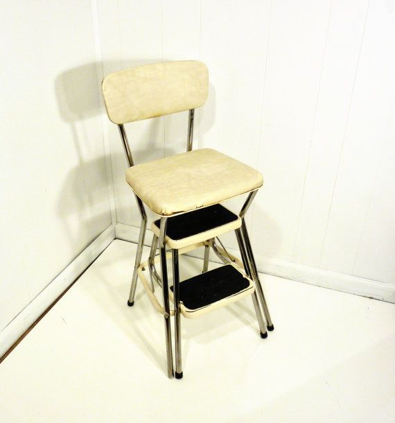 antique step stool chair antique furniture - Cosco Kitchen Chair Stool. Vintage Cosco Kitchen Folding Step Stool