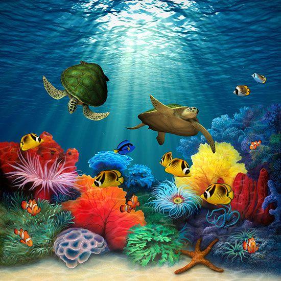 Coral Sea via Sea murals, Ocean mural