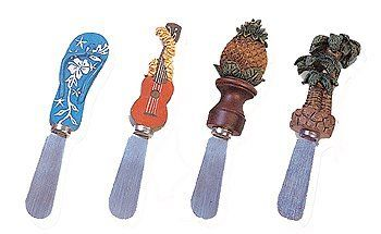 BUTTER SPREADER -HAWAIIAN SET OF 4 by Tikimaster. $12.99. Here is a very cute set of butter spreader depicting Hawaiian accessories: slippers, ukulele, pineapple and palm tree.. Save 19%!