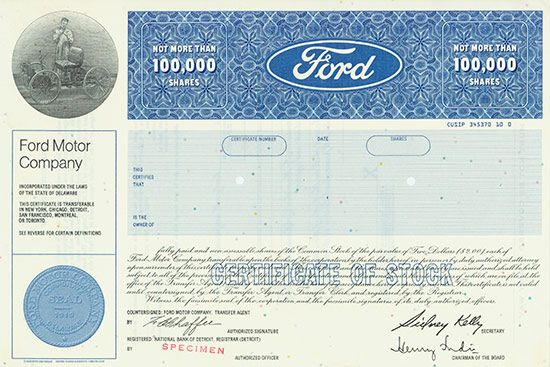 Hwph Ag Historische Wertpapiere Ford Motor Company Ford