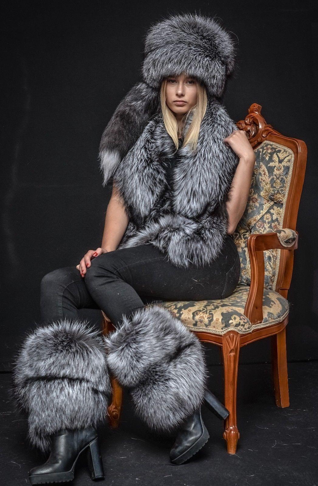 2b6ac2bb6c534 Details about Saga Furs Natural Silver Fox Fur Royal Winter Posh ...