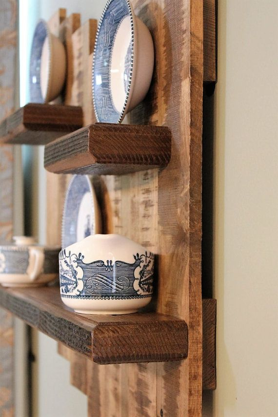 Estante de pared madera de palet reclamado por - Estantes de madera para pared ...