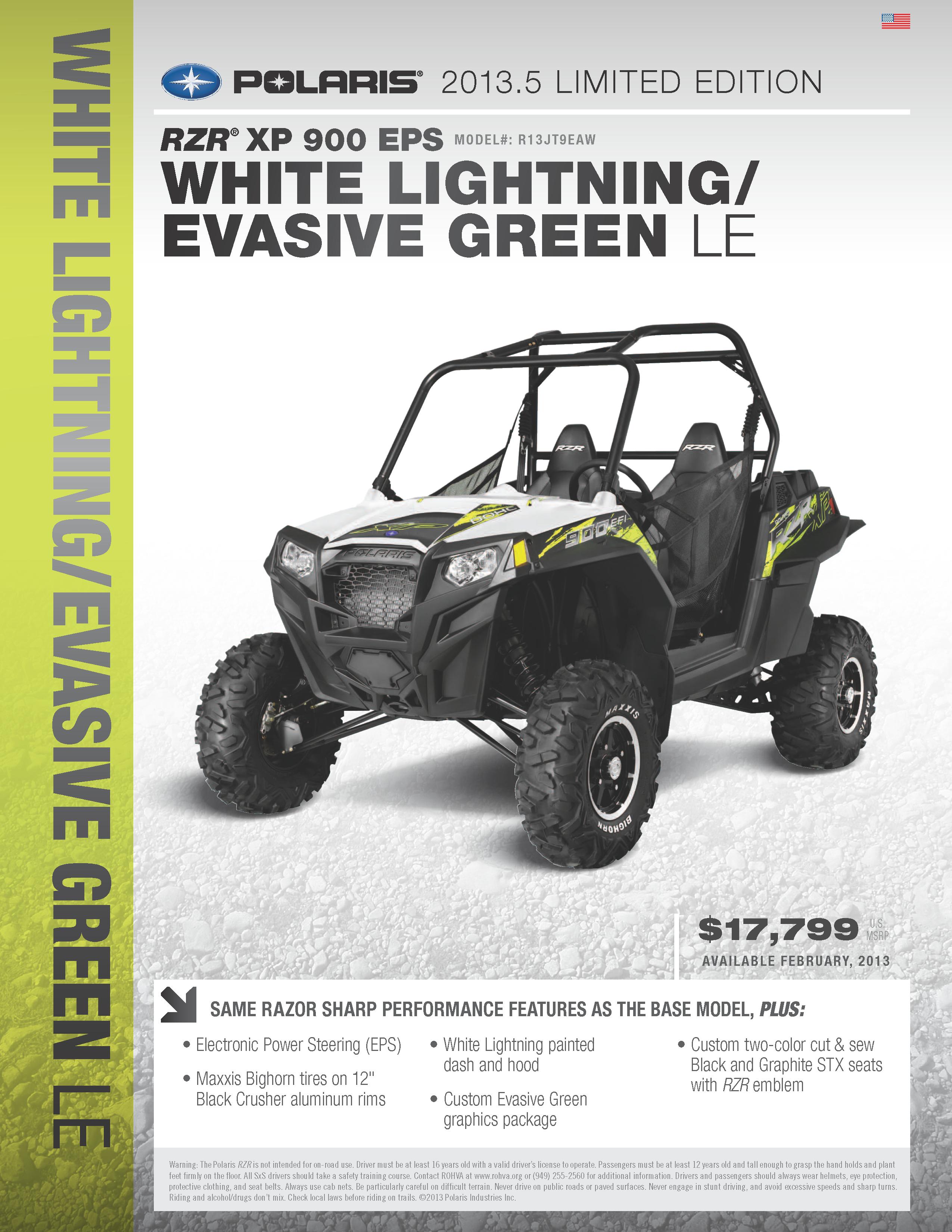 rzr xp 900 eps model r13jt9eaw white lightning evasive green le rh pinterest com 2014 rzr 900 xp owners manual 2014 rzr xp 900 service manual
