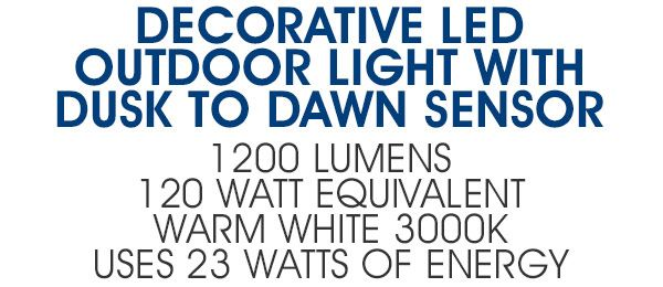Decorative Outdoor LED Wall Pack Light with Dusk to Dawn Sensor
