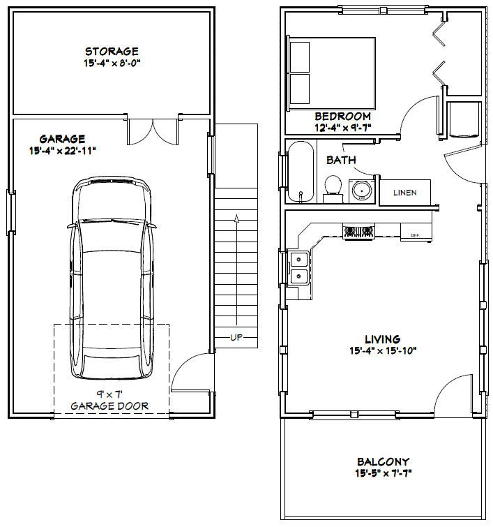 16x32 tiny houses pdf floor plans 1 car garage 8 for Shed apartment plans