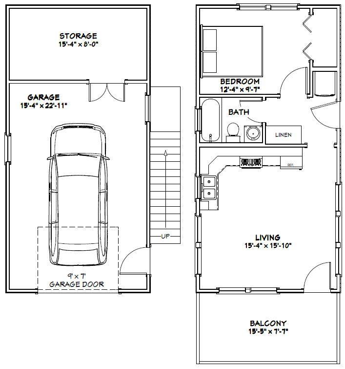 Plan W2225sl One Story Garage Apartment: 16x32 Tiny Houses -- PDF Floor Plans -- 1-Car Garage -- 8