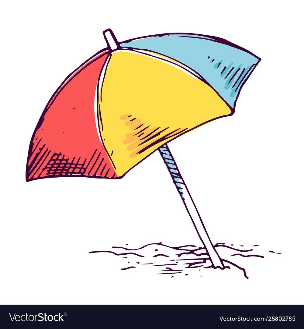 Sand beach umbrella color hand drawn vector image on