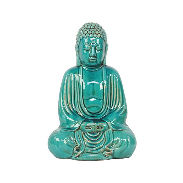 Balance your space with a mini turquoise Buddha. Finished in a cool turquoise glaze, this ceramic statue adds just the right jolt of color.  Find the Sitting Turquoise Buddha, as seen in the Gifts for Her Collection at http://dotandbo.com/collections/holiday-gift-guide-gifts-for-her?utm_source=pinterest&utm_medium=organic&db_sku=93405