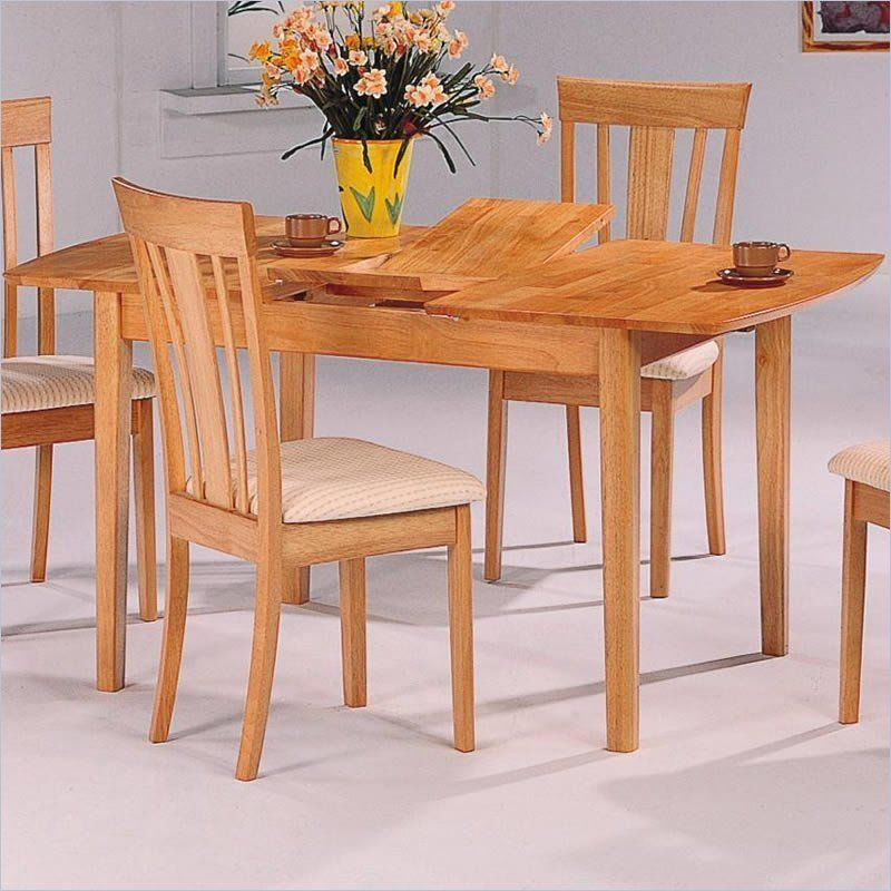 Davie Rectangular Leg Dining Table With Butterfly Leaf In Warm Natural Finish Kitchen Table Settings Country Kitchen Tables Dining Table Legs