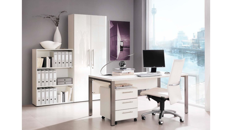 Büroset BÜRORAUMWUNDER Büromöbel Home-Office in weiß Hochglanz ...