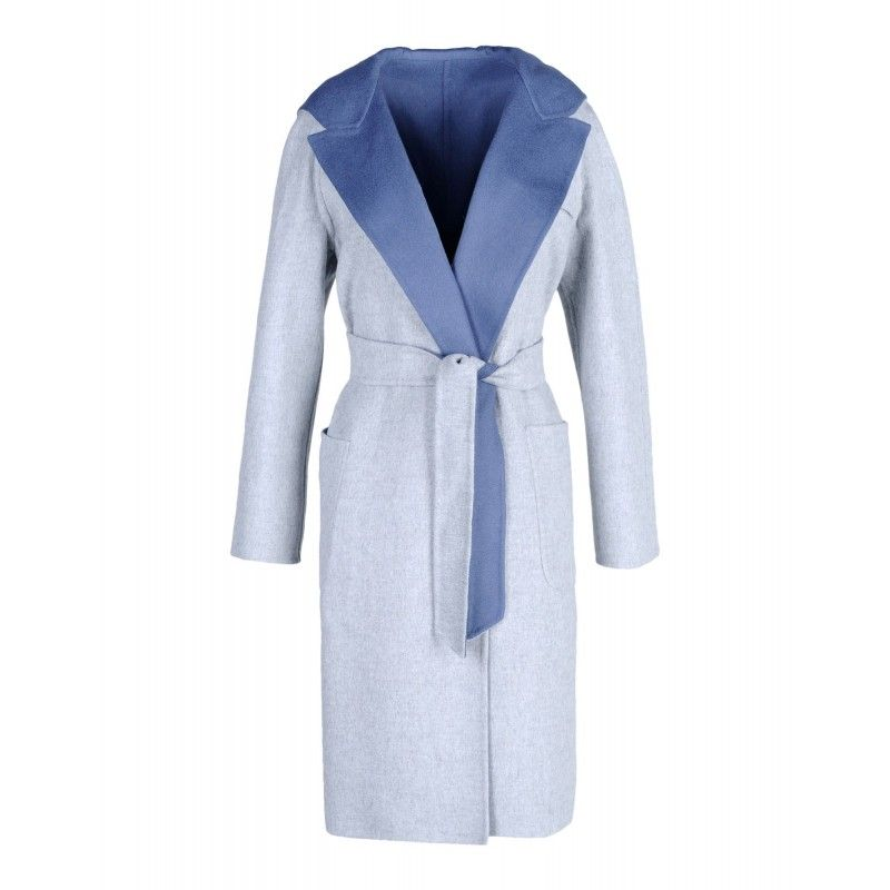 Colorful coats to help you brave the cold weather: Max Mara Wool & Angora Light Blue Reversible Robe Coat
