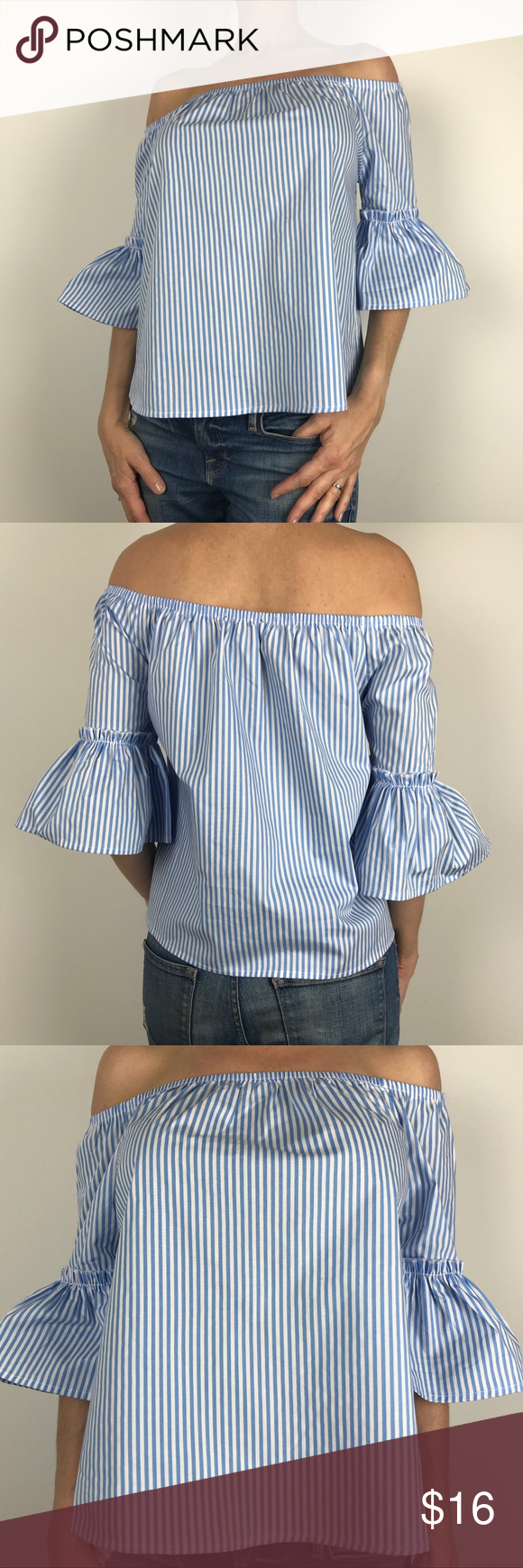 9041c1f2af759 Ambiance off-shoulder stripe blouse Ambiance off-shoulder stripe 3 4 bell  sleeve