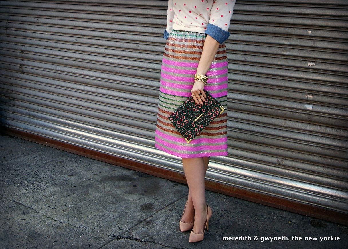 Pattern Layering: J. Crew Sequin Striped Skirt, Madewell Polka Dot Sweater & ASOS leopard clutch