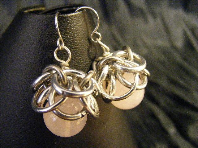 rose quartz helmcap earrings    $8.00