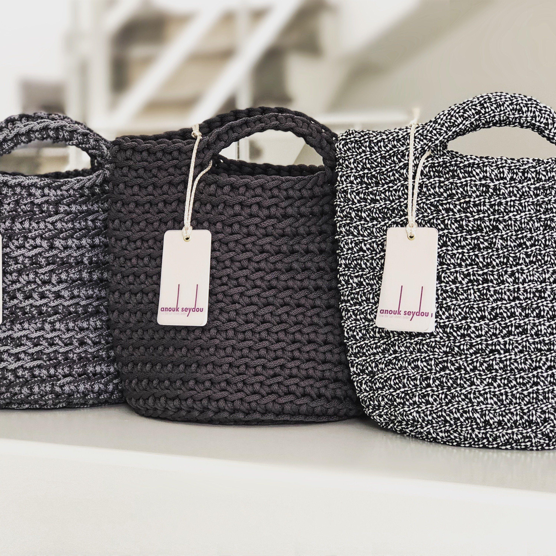 Tote Bag skandinavischen Stil häkeln Tasche handgemachte Tasche gestrickt Handtasche Matt Grau Farbe #crochethandbags