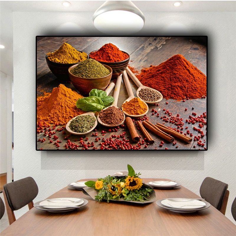 SPOONS OF COLOURFUL SPICES CANVAS PRINT PICTURE WALL ART KITCHEN HOME DECOR
