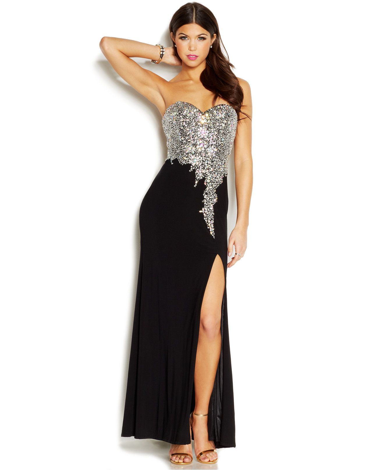Crystal doll juniorsu beaded strapless gown juniors homecoming