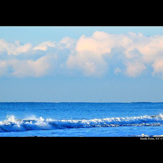 Atlantic Ocean Blue Morning Smith Point New York Atlantic Ocean