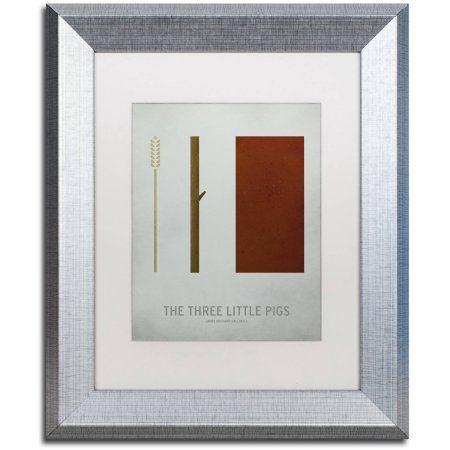 Trademark Fine Art 'Three Little Pigs' Canvas Art by Christian Jackson, White Matte, Silver Frame, Size: 11 x 14, Assorted