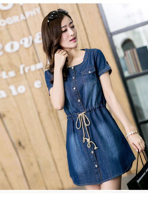 Znalezione obrazy dla zapytania vestidos de jean para mujer  0e63460cac40