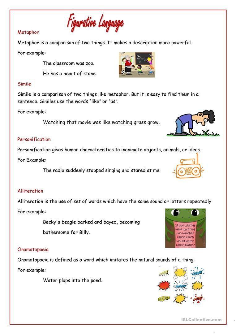 Figurative Language Worksheet 5th Grade Figurative Language English Esl Worksheets For Distance 2020