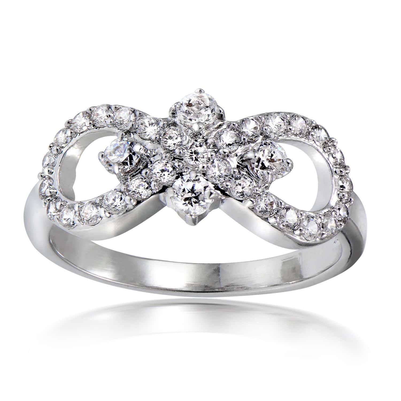 Icz stonez silvertone cubic zirconia bow tie infinity ring size
