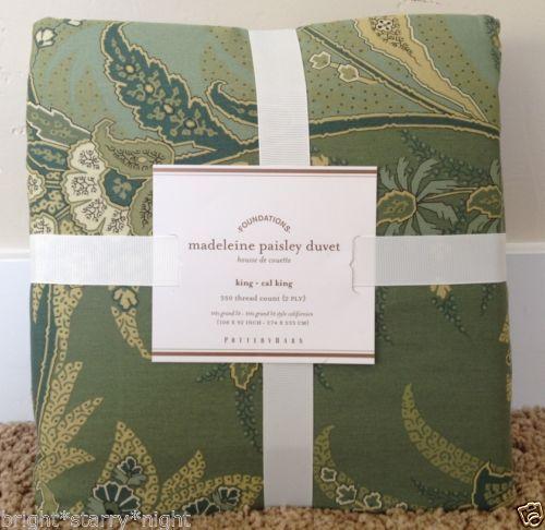 Pottery Barn Madeline Paisley Full Queen Duvet Cover Green