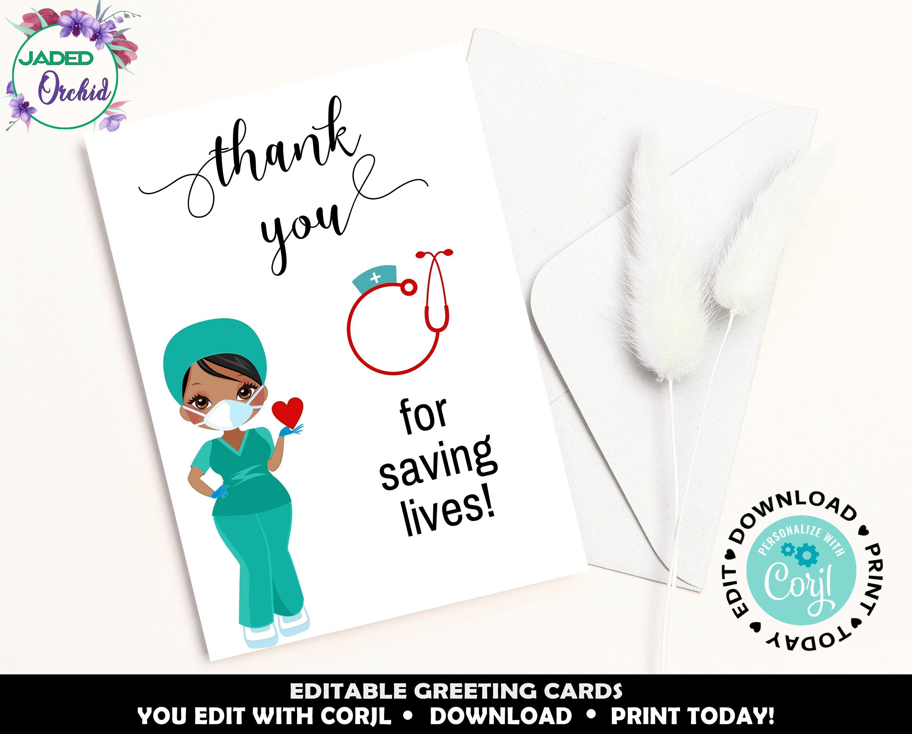 Printable Thank You Frontline Thank You Card For Doctors Etsy Thank You Greetings Thank You Cards Thank You Printable