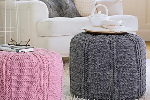 Poufs Mit Gehäkeltem Bezug Häkeln Knitting Knit Crochet Und Crochet