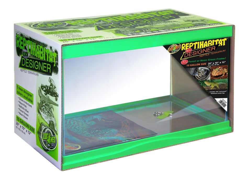Zoo Med Designer Terrarium Tank Neon Green 10 Gallon Terrarium Tank Zoo Med Unusual Animals