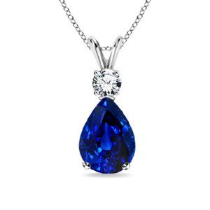 Angara Natural Blue Sapphire Necklace in Platinum kokOxNS1Ln