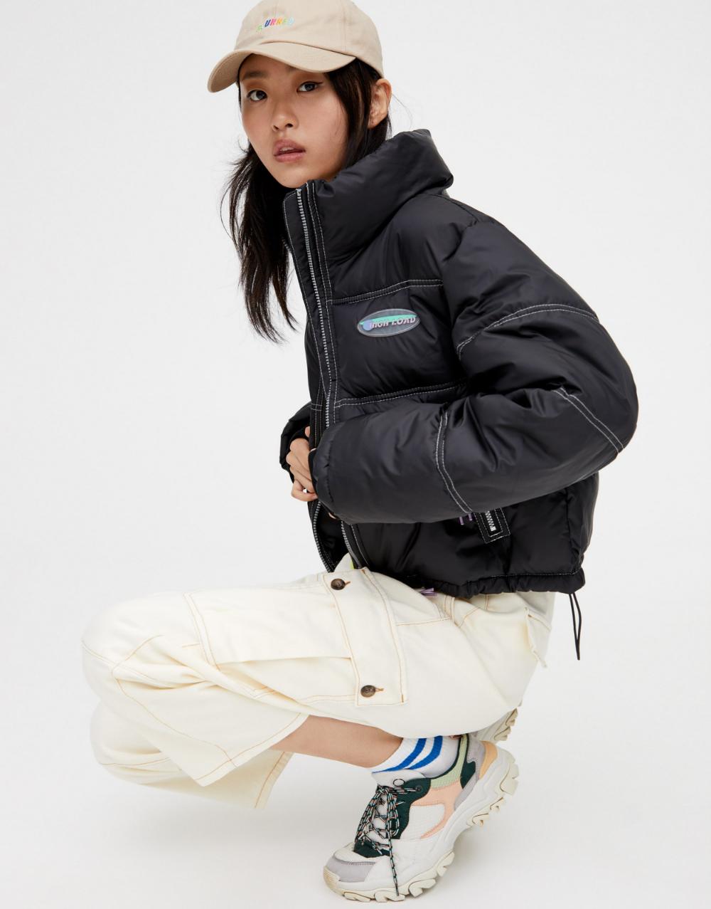 Cropped High Collar Puffer Jacket Pull Bear High Collar Puffer Jackets Spring Outerwear Women [ 1277 x 1000 Pixel ]