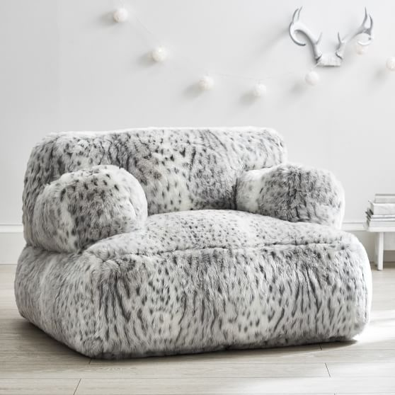 Pin By Carina Teed On Graces Room In 2019: Gray Leopard Faux-Fur Eco Lounger In 2019