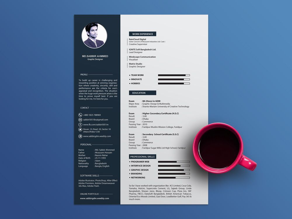 Free Cool Resume Template with Clean and Elegant Design #cv #resume