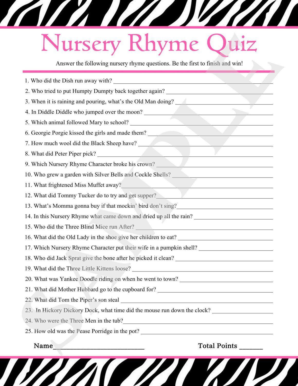 Instant Download Printable Nursery Rhyme Quiz By Jessica